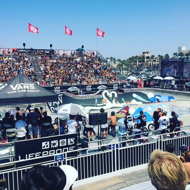 Extreme Sports Injuries; several bmx bikers wait to compete at the 2016 Vans US Open