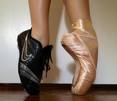 Should dancers take PE class: a dancer wears both a cleat and pointe shoe