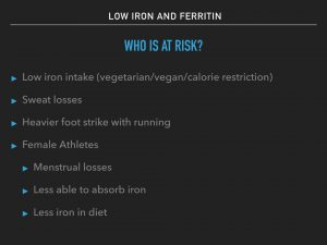 Iron and Ferritin: Chart showing which athletes may be at risk for low iron
