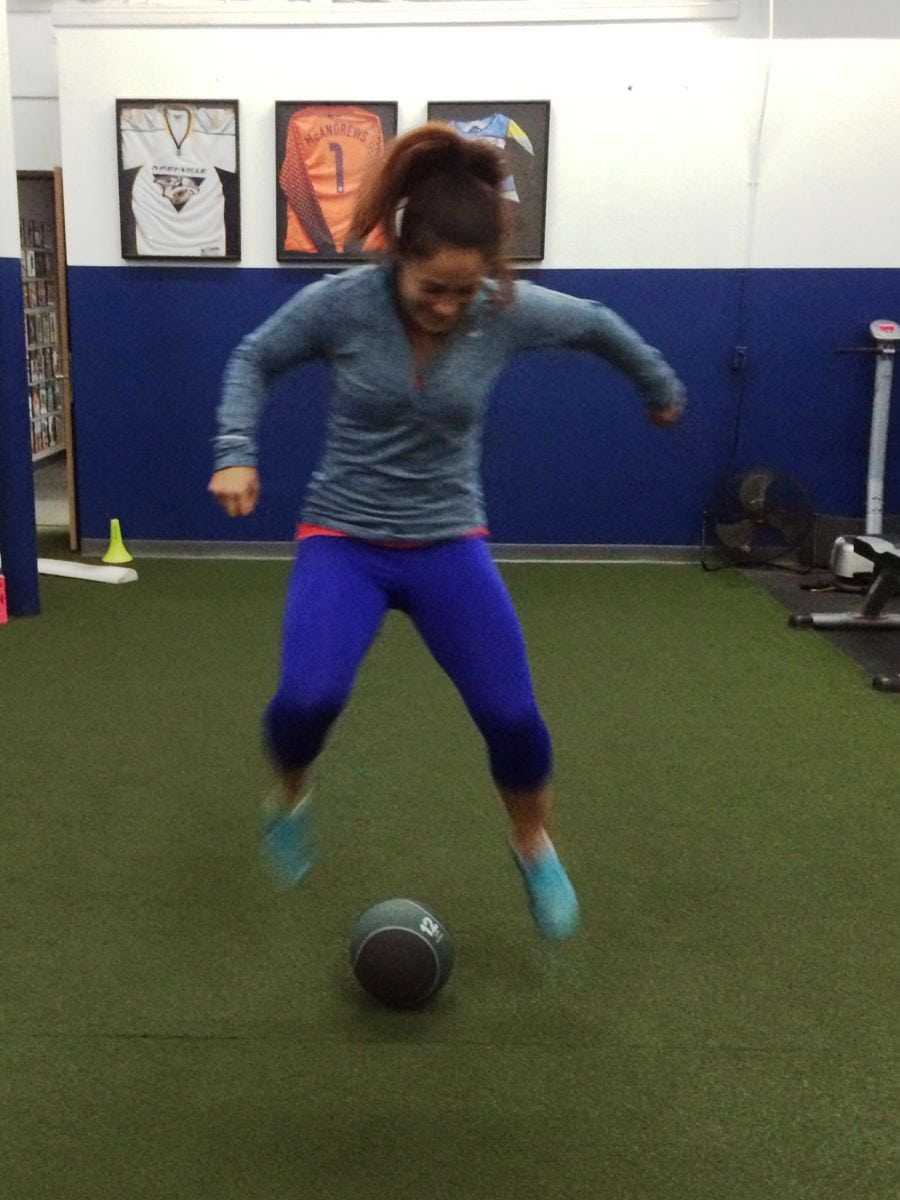 ACL Tears; Picture of a young athlete doing jumping exercises to reduce her risk of ACL tears