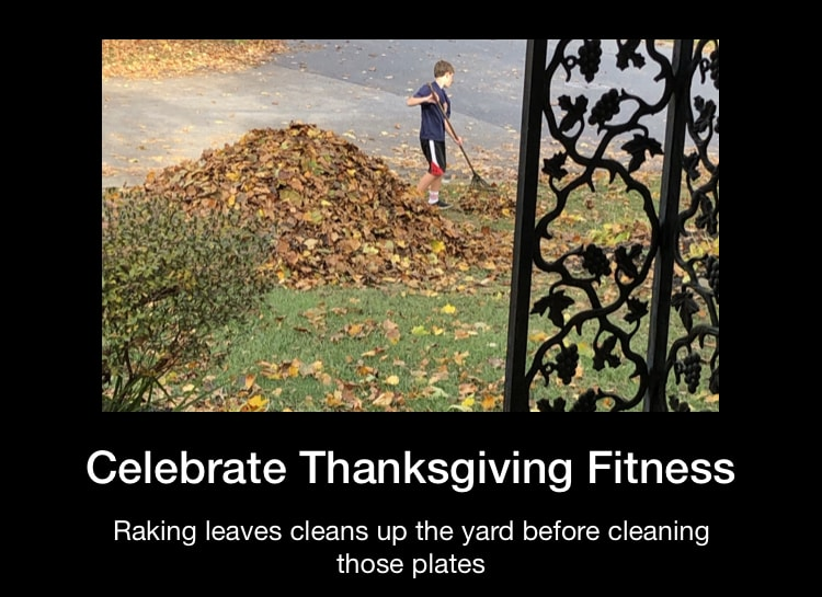 Thanksgiving- child raking leaves as part of holiday fitness